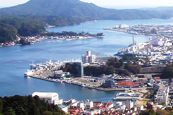 安波山からの気仙沼漁港の風景